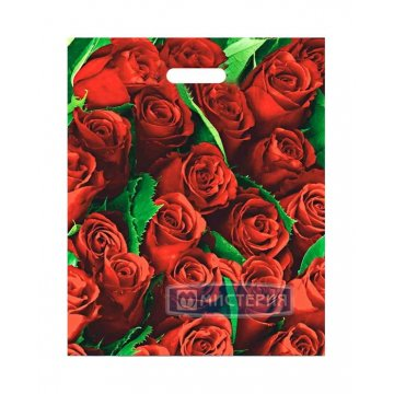 Пакет (мешок) проруб. ПВД 47х38см, 60мкм, Розы 25 шт /уп 1 000 шт /кор