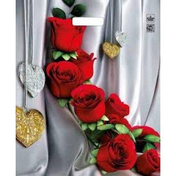 Мешки (пакеты) с вырубной усил. ручкой 38х45+3 (60) Тико ламин. Цветы страсти (0,050/0,500)