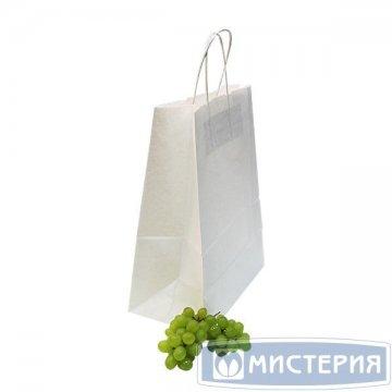 Пакеты (260+150)х350мм,80г/м2, крафт белый с кручеными ручками 150 шт./уп 150 шт /кор