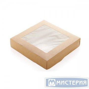 Коробка DoEco 200х200х40мм ECO TABOX PRO 1500 , с окном, коричн. 25 шт/упак 125 шт/кор