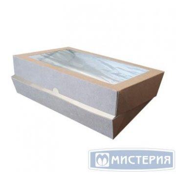 Коробка DoEco 260х150х40мм ECO TABOX PRO 1450 , с окном, коричн. 25 шт/упак 125 шт/кор