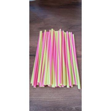 Трубочка полимерная д/напитков 8*240 (1кор/20уп/) 50/50 color SPIRAL розовый/зеленый