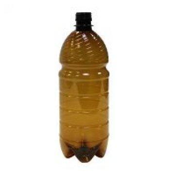ПЭТ бутылка, коричн., 1 л,  h 240 мм,  d 80 мм, с крышкой 100 шт./упак. 100 шт./кор.