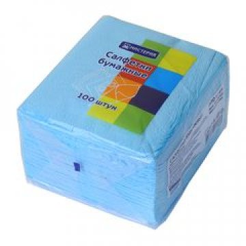 Салфетки Мистерия классик 24х24 см, 1сл., синий, бум. (100л) 100  шт/уп 60 уп/кор
