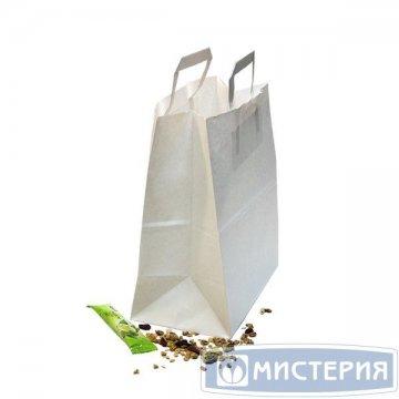 Пакеты (240+140)х280мм, 80г/м2, крафт белый с плоской ручкой 300 шт/уп 300 шт/кор