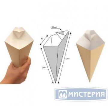 Коробка д/картоф фри конусная с отделением под соус  ECO CONE L, крафт 400шт/уп 400шт/кор
