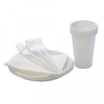 187430 Набор «Шашлычок» (6 белых стаканов, 6 дес. белых тарелок, 6 белых вилок, 6 белых салфеток)