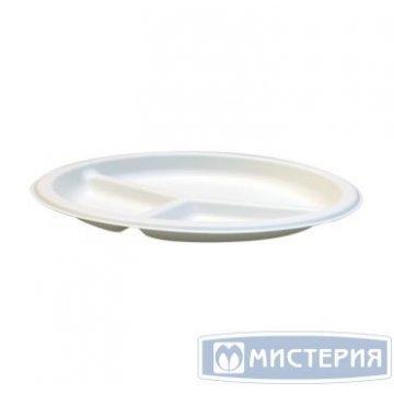 Тарелка кругл., d 225мм, h 18мм, 3-секц., бел., сахарный тростник 50шт/упак 20 упак/кор
