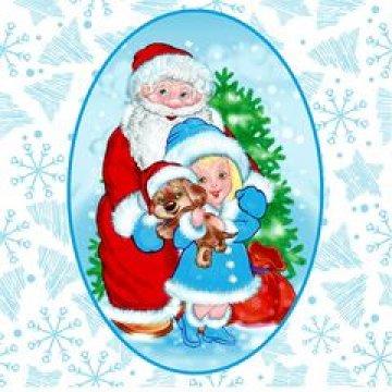 Салфетки 25х25см, 1 сл., Дед Мороз и Снегурочка, бумага,  40шт/уп 105 уп/кор