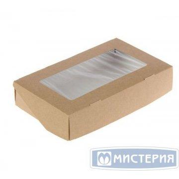 Коробка DoEco 260х150х40мм ECO TABOX 1450 gl, с окном, коричн. 300 шт/упак 300 шт/кор