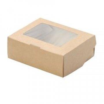 Коробка DoEco 100х80х35мм ECO TABOX 300, с окном, коричн. 1200 шт./уп. 1200 шт./кор
