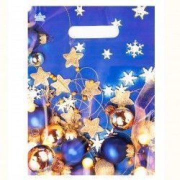 Мешки (пакеты) с вырубной неусил ручкой 20х30 (30) Звездочки на синем (3,0/0,1)
