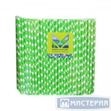 Трубочки бумажные Крупный горошек, цвет зелено-белый, d=6мм L = 195мм 250 шт/уп 20 уп/кор