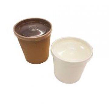 Упаковка DoEco d-70мм, h-85мм, 340мл ECO SOUP 12С ECONOM, для супа, коричн. с пласт. кр. 250 шт/ко