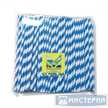 Трубочки бумажные Прибой, полоска, цвет сине-белый, d=6мм L = 195мм 250 шт/уп 20 уп/кор