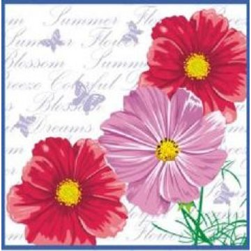 Салфетки Цветы. Космея 25х25см, 1 сл., бум. (40л) 40 шт/уп 105 уп/кор