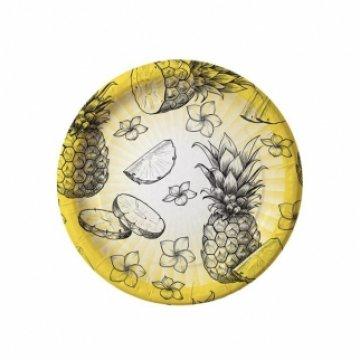 Тарелка бум. 230мм Ананасы (IP500) 500шт/кор