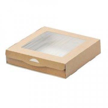 Коробка DoEco 200х200х40мм ECO TABOX 1500, с окном, коричн. 350 шт./уп. 350 шт./кор.