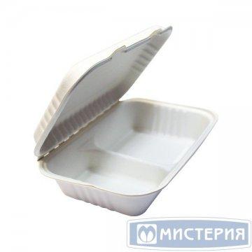 Ланч-бокс 2-секц., 249х163х64мм, бел., сахарный тростник 25 шт./уп. 10 упак/ кор