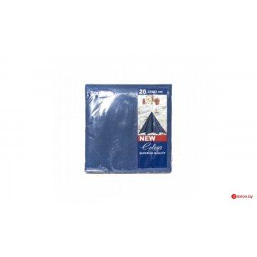 Салфетки 20л, Bouquet Solid Colour, 3-х слойные, синие
