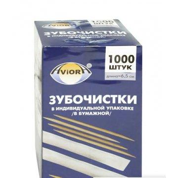 Зубочистки БАМБУКОВЫЕ в инд. бумажной упак., 1000шт.в картонной упак.(30уп/кор) AVIORA