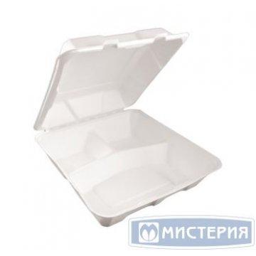 Ланч-бокс 1500мл, 3-секц., 230х228х85мм, бел., сахарный тростник 50 шт/упак 4 упак/кор