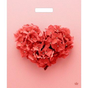 38х45+6 (60) Мешки (пакеты) с вырубной усил. ручкой Тико глянец Сердечный букетик (0,050/0,500)