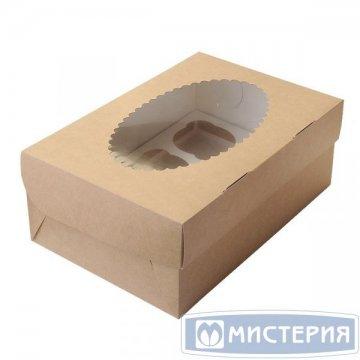 Коробка DoEco 250х100х100мм ECO MUF 3, с окном, коричн/белый 150 шт./уп. 150 шт./кор